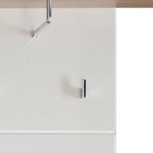 trendteam Perchero Panel perchero Set One, 60 x 195 x 25 cm en blanco brillante, detalles en acabado roble San Remo con seis ganchos de ropa, repisa y ...