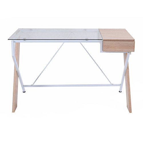 tangkula computer desk glass top with drawer compute desk table home office furniture previous next