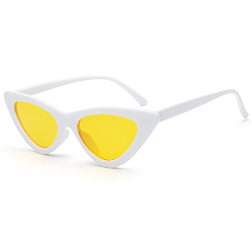 Clout Goggles Cat Eye Sunglasses Vintage Mod Style Retro Kurt Cobain Sunglasses - Glasses Yellow Cobain Kurt