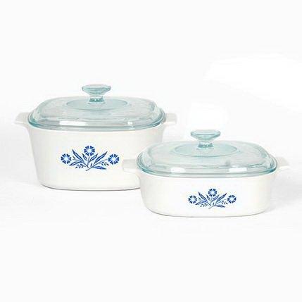 Stovetop Corningware - Corningware Pyroceram Blue Cornflower 4 pc. Glass Ceramic Cookware Set - Limited Edition