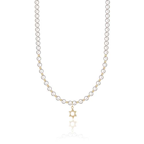 Luxury Gold-filled Star of David Charm with Cream Swarovski Simulated Pearls Luxury Infant Necklace (NGSD)