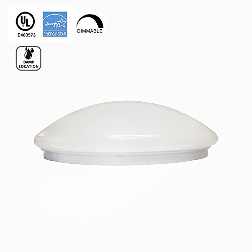 Worbest Mushroom LED Flush Mount Ceiling Light,12-Inch 15W 4000K Warm White 1150lumens,120 Beam Angle,ETL and ENERGY STAR Listed,Damp Location Ceiling Lamp Fixture,Brushed Nickel,Dimmable 1-PACK - Mushroom Flush Mount Ceiling Fixture