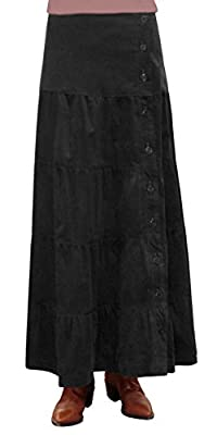Baby'O Women's Long Ankle Length Tiered Corduroy Maxi Skirt