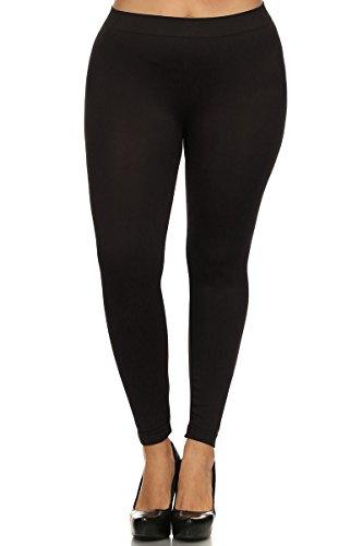 World of Leggings PLUS SIZE Basic Nylon Spandex Leggings Black, One Size Plus