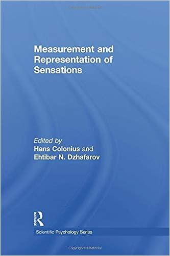 Measurement and Representation of Sensations (Scientific Psychology Series)