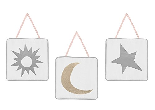 - Sweet Jojo Designs 3-Piece Blush Pink, Gold, Grey and White Star and Moon Wall Hanging Decor for Celestial Collection