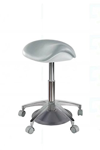 Aphrodite Standard Dental Foot Controlled Saddle Stool Chair PU Leather Height Adjustable by Purple-Violet