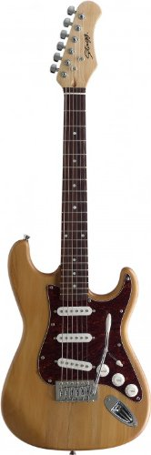 Stagg S300 3/4-Size NS Standard S 6-String Electric Guitar with Solid Alder Body – Natural