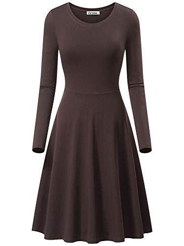 VETIOR Midi Dresses for Women Simple Cotton Dress(XL,Coffee)