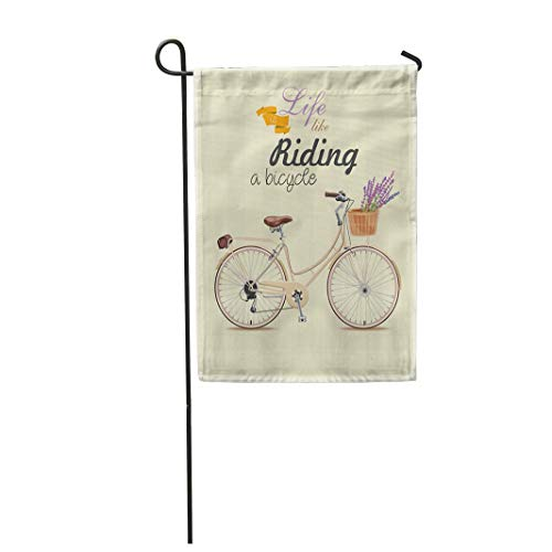 Semtomn Garden Flag 12x18 Inches Print On Two Side Polyester Bike Bicycle with Lavender in Basket Vintage Style Retro Old Motor Steampunk Home Yard Farm Fade Resistant Outdoor House Decor Flag -
