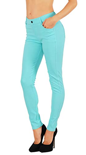 Fit Division Women's Jean Look Cotton Blend Jeggings Tights Slimming Full Lenght Capri and Classic Bermuda Shorts Leggings Pants S-3XL (M US Size 6-8, FDJN827-TUQ) ()