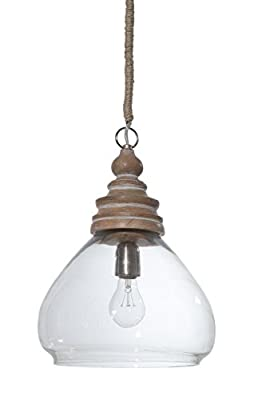 """Creative Co-Op Glass and Mango Wood Ceiling Pendant Lamp, 11"""" Round by 15"""" Height"""