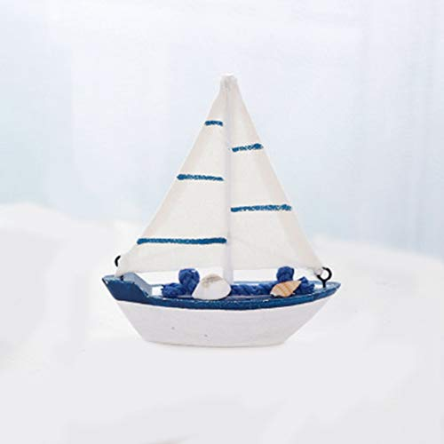 (Chelsea Vintage Mediterranean Style Marine Nautical Sailing Boat Ship Wood Crafts Canvas Boat White &)