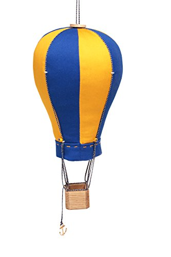 Hanging Textile Hot Air Balloon Mini Kid Room Decor Yellow Blue Small