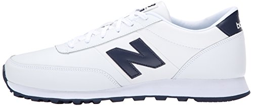 888546344532 - New Balance Men's NB501 Leather Collection Classic Running Shoe, White/Navy, 9 2E US carousel main 4