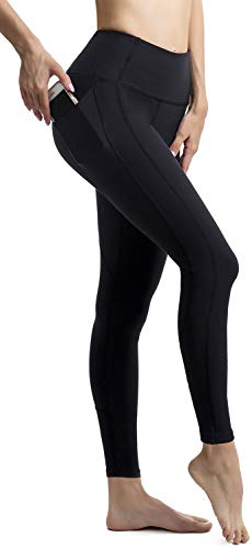 ngs for Women with Pockets High Waisted Tummy Control Yoga Leggings Yoga Pants Black - S ()