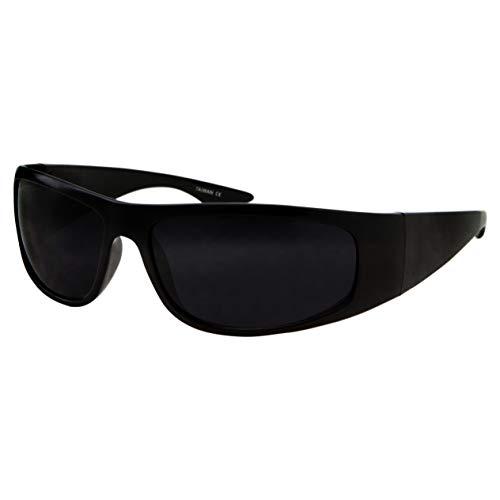 Super Dark Lens Black Sunglasses | Biker Style Rider | Wrap Around Frame (Black)]()