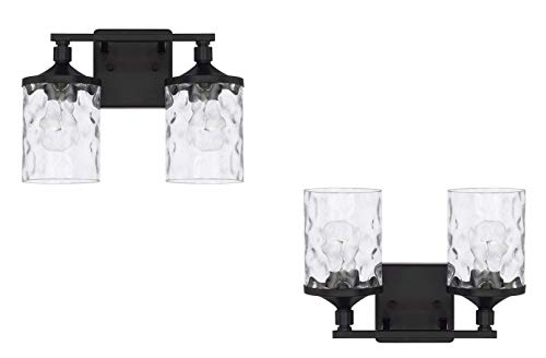 - Capital Lighting Homeplace/Colton - Two Light Bath Vanity, Matte Black Finish with Clear Water Glass - 2 Pack