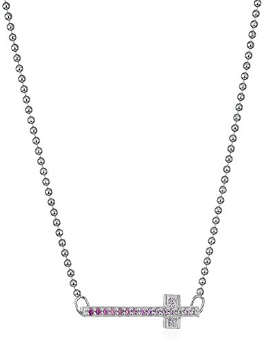 Alex Woo Little Elements Sterling Silver Side Cross with Swarovski Genuine Pink Sapphires Pendant Necklaces