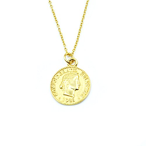 Child Silver Coin (925 Sterling Silver Chain Necklace Jewelry Charm Gold Coin Pendent Simple Delicate Chic Fashion)