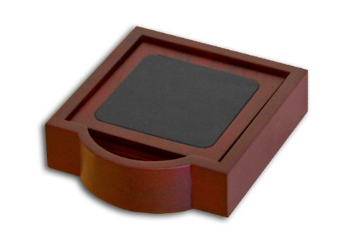 Dacasso Rosewood and Leather 4 Coaster (Leather 4 Coaster Set)