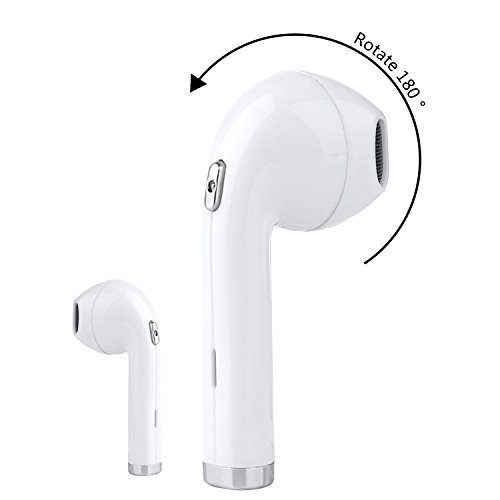 Single Wireless Earbud Bluetooth Earbud 180°Rotation i8 Mini In-Ear Bluetooth 4.1 Earphone Built-in Mic Stereo Headset Headphone for IPhone8 X 7 Plus Samsung (One Pcs) (WHITE) by QINGQING
