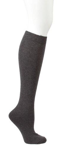 Flat Knit Knee Sock - HUE Flat Knit Knee Sock (Graphite)
