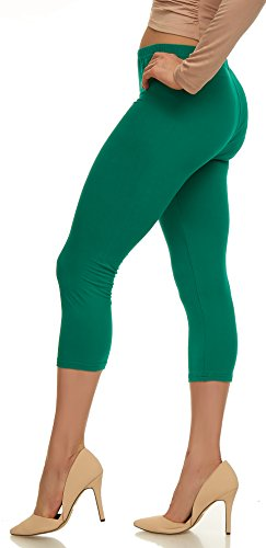 LMB Lush Moda Extra Soft Capri Leggings - Variety of Colors - Green ()