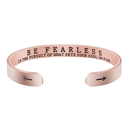 Joycuff Men's Bangle Bracelets for Women Birthday Gifts for Her Silver Cuff Bangle Personalized Mantra Inspirational Daily Reminder (Be fearless in the pursuit of what sets your soul on fire-Rose gold