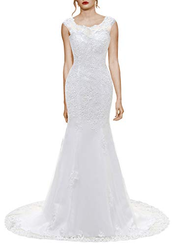 Wedding Dress for Bride Lace Bridal Dress Mermaid Bride Dresses with Long Train White