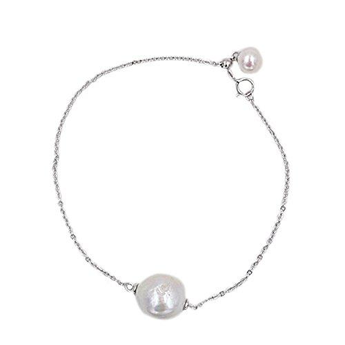 Lee Bracelets Designer (Lee Lee B6817Z-Baroque Pearl White Gold Plated Simple Bracelet Gift Designer Jewellery)