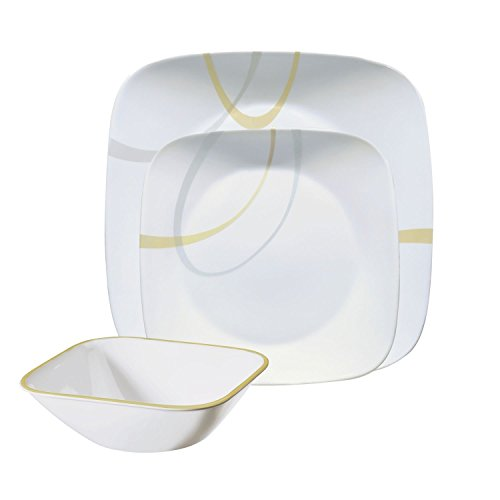 Corelle Square Modern Lines 12-Piece Dinnerware Set, Service for 4 (Lightweight Dinnerware Sets)