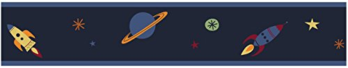 Kids and Baby Galactic Planet Rocket Shi - Blue Space Wallpaper Border Shopping Results