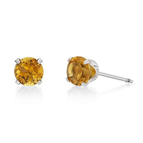 (.80 CT Round 5MM Yellow Citrine 14K White Gold Stud Birthstone Earrings)