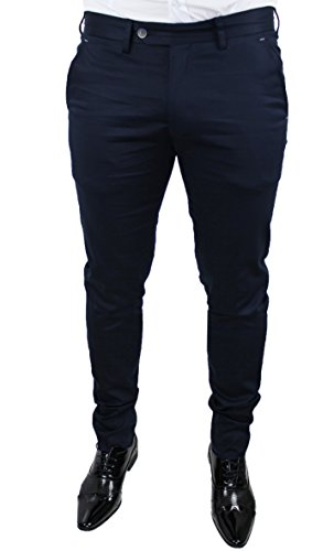 Elegante In Pantalone Fit Italy Slim Scuro Casual Blu Uomo Made Rg1nw1HqSW