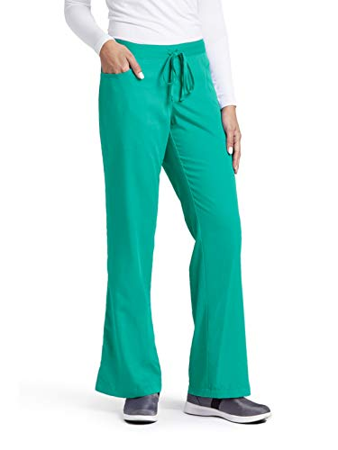 Grey's Anatomy Women's Junior-Fit Five-Pocket Drawstring Scrub Pant - X-Large Petite - Tropic Jade (Pants Jade Girls)