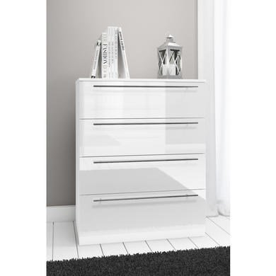 Space Chest of Drawers Cabinet in White Matt/White High Gloss