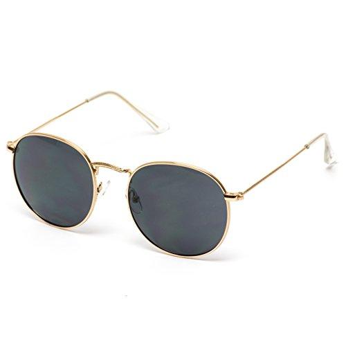 WearMe Pro - Reflective Lens Round Trendy Sunglasses (Gold Frame/Black Lens, 51) by WearMe Pro (Image #2)