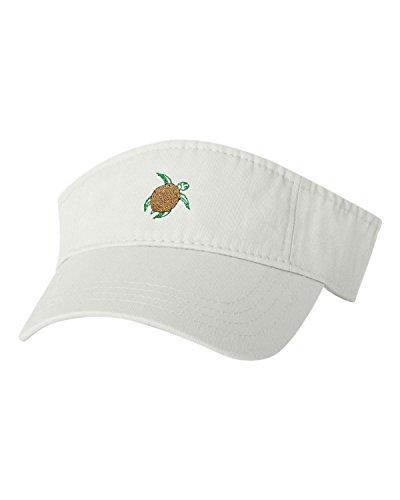 Adjustable White Adult Sea Turtle Embroidered Visor Dad Hat ()