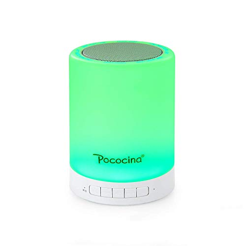 Pococina Wireless Speaker Night Light Dimmable Table Lamp Smart Touch Control LED Color Changing Mood Light for Bedroom Sleeping, Perfect Gift for Baby Kids Children Teens Adult