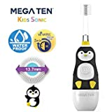 Brilliant Kids Sonic Toothbrush Character with MegaTen Sonic Vibration - with Led Light - Super-Fine Micro Bristles Make Brushing Fun for Parent & Child, Ages 3-8 (Penguin)