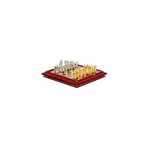 (Town Square Dollhouse Miniature Metal Chess Set and Board)