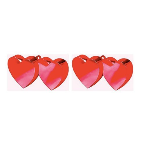 Valentine's Day Twin Hearts Metallic Red Balloon Weight, 6 oz. Package of 2