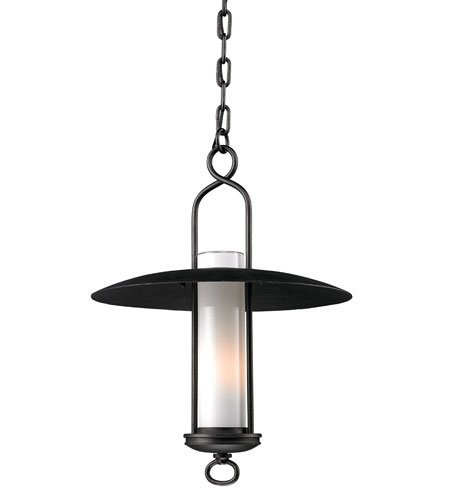 Outdoor Pendant 1 Light With Graphite Finish Hand-Worked Wrought Iron Material Medium 22 inch Long 100 Watts - Carmel Outdoor Pendant Light