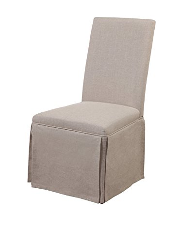 Bassett Mirror Skirted Parsons Chair, 20 by 25 by 39-Inch, Natural Linen.