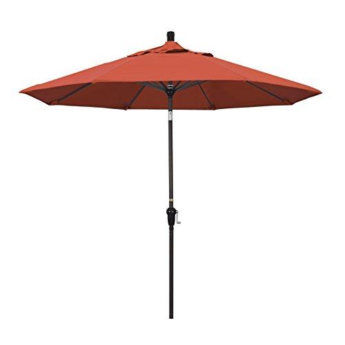 California Umbrella 9 Round Aluminum Market Umbrella, Crank Lift, Auto Tilt, Bronze Pole, Sunset