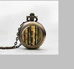 Biblioteca libro colgante reloj de bolsillo, Biblioteca libro collar del encanto del reloj de bolsillo, Biblioteca libro colgante reloj de bolsillo de cristal Azulejos Joyería, Cristal Biblioteca libro reloj, Biblioteca libro potphoto