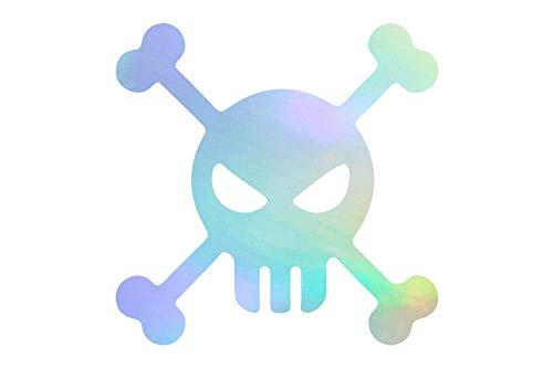 NBFU DECALS Angry Skull Pirate Flag (Hologram) (Set of 2) Premium Waterproof Vinyl Decal Stickers for Laptop Phone Accessory Helmet Car Window Bumper Mug Tuber Cup Door Wall Decoration