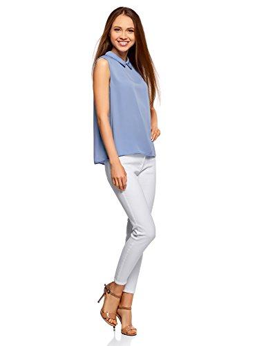 7500n Femme Ultra oodji Blouse sans Manches Basique Col Bleu 8T8x5rw