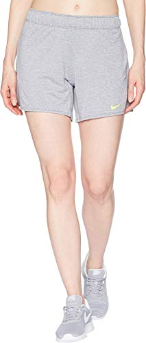 NIKE Womens Dry Attack Trainer 5 Athletic Shorts, Cool Grey/Heather/Volt, Large